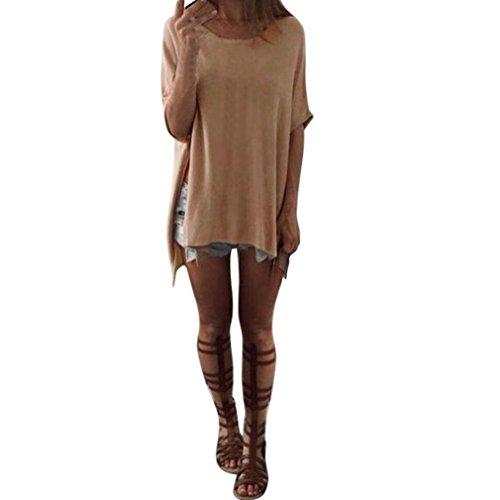 Switchali Damen O-neck Irregular Hem Klassische Baumwoll Top Spaltung T-Shirt (CN L /EU M, Khaki)