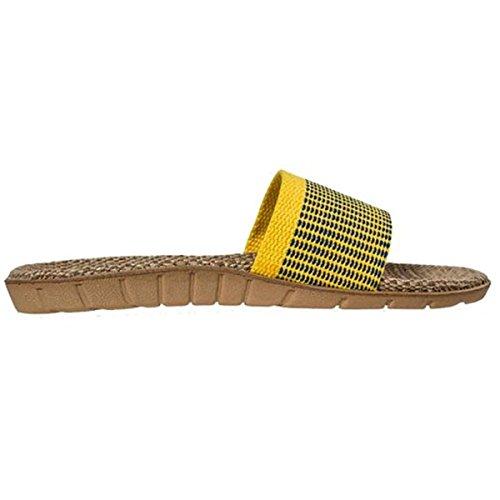 Oriskey nisex Damen Herren Leinen Stripes Flache Hausschuhe Skidproof Haus Indoor Pantoffeln Sommer Gelb