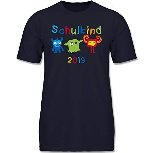 Einschulung und Schulanfang - Schulkind 2019 Monster - 140 (9-11 Jahre) - Dunkelblau - F130K - Jungen Kinder T-Shirt
