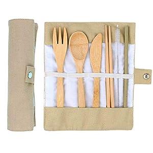ANSUG 6 Stück Bambus Besteck Set, Reise Mittagessen Besteck Wiederverwendbare Holz Utensilien mit Stoffbeutel für Reisen…