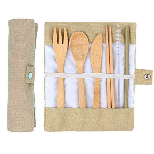 ANSUG 6 Piezas Juego de Cubiertos de bambú, Travel Lunch Cubiertos Set Utensilios de Madera Reutilizables con Bolsa de Tela para Viajes Cocina de Camping
