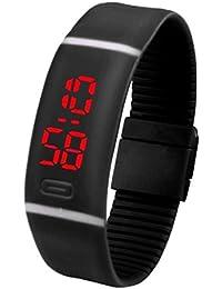 Sannysis® Deportes LED corriente roja pulsera de reloj; Digital reloj de pulsera (Negro)