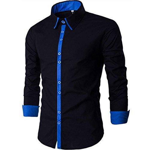 Men's Fashion Square Collar Long Sleeve Shirts Black Blue