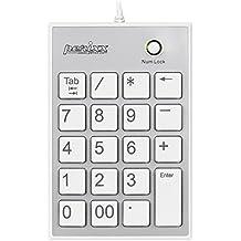 Perixx PERIPAD-202HW, Teclado numerico - Blanco - USB - Slim de 19 teclas - 2 USB-Hubs - Tecla Tab - Letra grande impresion - Teclas tijera alta calidad