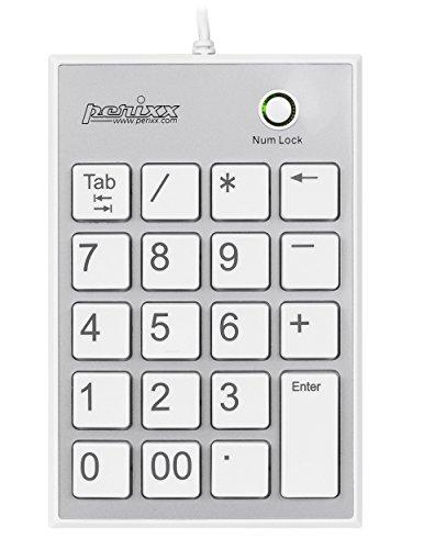 Perixx PERIPAD-202HW, Numeric Keypad for Laptop – USB – Built-in 2xUSB Hub – Tab Key Feature – Full Size 19 Keys – Big Print Letters – Silent X Type Scissor Keys – White