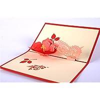 BC Worldwide Ltd Origami fatti a mano carta artigianale carta arte pop-up 3D pop-up Natale cartolina di San Valentino carta festa della mamma biglietto d'auguri carta di compleanno carta regalo di nozze invito a festa taglio laser rosso fiore giallo rosa farfalla primavera grazie