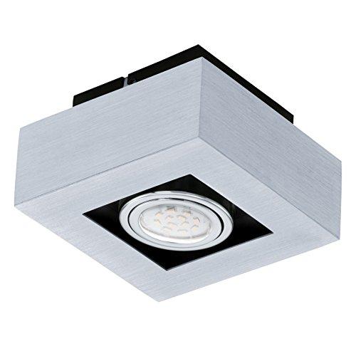 EGLO Wand-/Deckenleuchte LED Modell LOKE 1, 1-flammig, 1x GU10 3 W LED 180 lm inklusive Leuchtmittel, 14 x 14 x 7,5 cm, alu gebürstet Stahl chrom / schwarz 91352