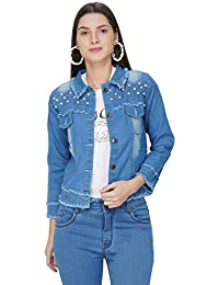ATI CREATIONS Full Sleeve Comfort Fit Regular Blue Denim Turn-Down Jacket for Women