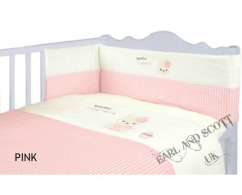 3 Piece Bedding(quilt,bumper & fitted sheet) Bale Set - Baby Girls Nursery Cot bedding (Pink)
