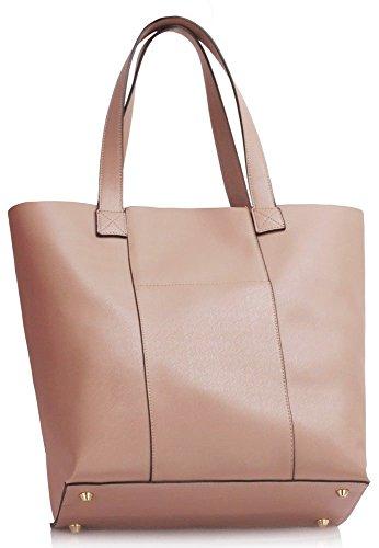 LeahWard® Damen Große Größe Schulter Handtaschen Damen Mode Essener Zwei In eins Taschen Qualität Kunstleder Tote mit Extra Tasche Handtaschen CWS00467 nackt/Rosa