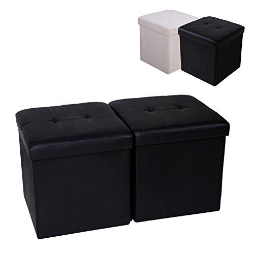 Cclife 2 pouf puff poggiapiedi sgabello contenitore cassapanca pieghevole 42 x 42 x 42 cm, colore:nero