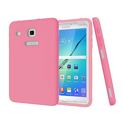 Darmor Schutzhülle für Samsung Galaxy Tab E 8.0 (strapazierfähig), Hybrid-Schutzhülle aus Polycarbonat und Silikon, DREI Schichten, Schutz für Tab E 32 GB SM-T378 / Tab E 8.0 SM-T375/T377 pink&Gray (Tab 2 Galaxy Griff Samsung)