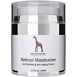 Retinol Crème - Mother Nature - Anti-Aging -Feuchtigkeitsspender Gegen Trockene Haut & Altersanzeichen - Hautstraffung & Hautregeneration Für Pralle Jugendliche Haut-Inklusive Hyaluronsäure