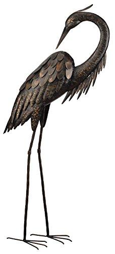 Birdbath Statue (Creekwood Reiher-Statue, groß, 109cm hoch, Vogel aus pulverbeschichtetem Metall, Statue/Ornament, mit 15,2 cm Erdspieß (Reiher putzt sich))