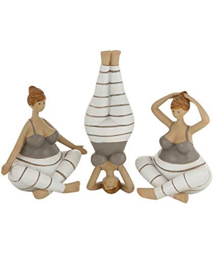 Bo Yoga - Juego de 3 Figuras Decorativas de Yoga (21 cm, Resina)