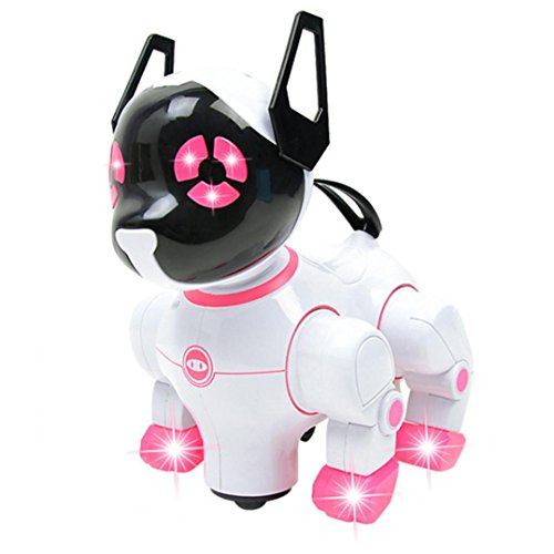 It Is A Robot And He Is Super Smart, E-SCENERY Intelligent Electronic Robot Dog Pet Toy, Walking Puppy Best Gift For Kids (Pink)