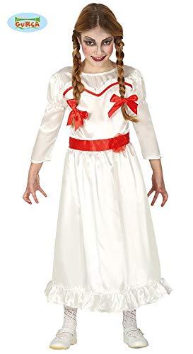 Guirca Halloween Kostüm Tote Puppe für Mädchen Puppenkostüm Kinderkostüm Mädchenkostüm Halloweenkostüm Gr. 110-146, Größe:140/146