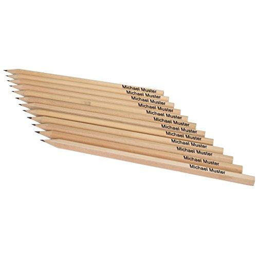 Natur-Bleistifte mit Namenseindruck auf jedem Stift, 12 Stück