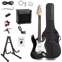 Display4top Guitare électrique avec Amplificateur,Support, sac, médiator, manche, cordes de rechange, accordeur, étui et câble (Noir blanc)