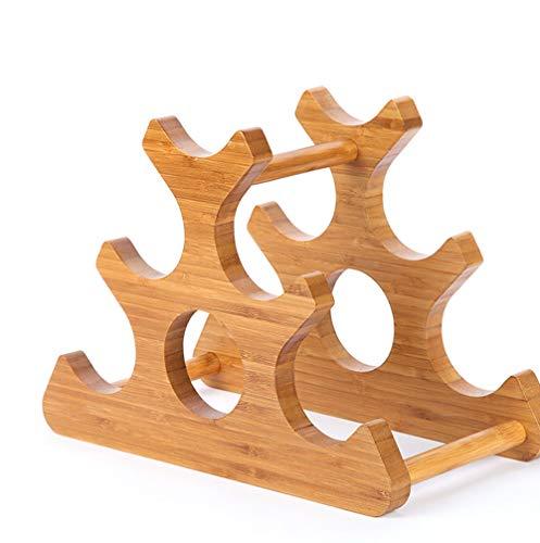 LCTCJJ Natürlicher Alpin-Bambus-Wasserflasche und Weinregal-Aufbewahrungs-Organizer für Küchenarbeitsplatten, Pantry, Kühlschrank - modernes geometrisches Design für 6 Flaschen, umweltfreundlich - nat