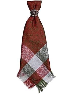 Trachtenbinder/Trachtenkrawatte/Plastron mit Silberspange - Rot/Grün