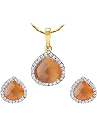 Spargz Classic Design Gold Plated Orange Diamond Contemporary Pendant Set For Women