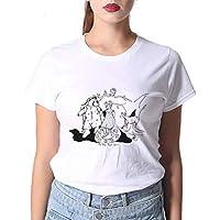 LuoMei Camiseta Estampada Blanca Jersey de Manga Corta con Cuello en o para Mujer Camiseta Estampada en Algodón Camisa con Fondo Camiseta de Verano para MujerComo se muestra, l