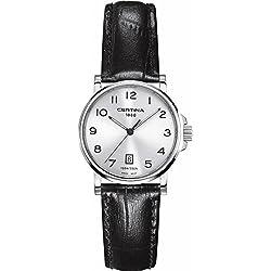 Certina - Reloj Analógico de Cuarzo para Mujer, correa de Cuero color Negro