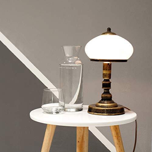 Tischlampe Messing Weiß Glas Metall rund 32cm edel SALLY Lampe Jugendstil Antik Nachttischlampe Beistelltisch - Weiß Beistelltisch Antik
