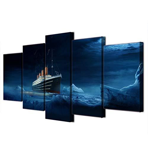 KKXXWLH Hd Gedruckt Modular Bild 5 Panel Titanic Eisberg Film Wandkunst Rahmen Leinwand Poster Malerei Für Wohnzimmer Wohnkultur - Hd Titanic