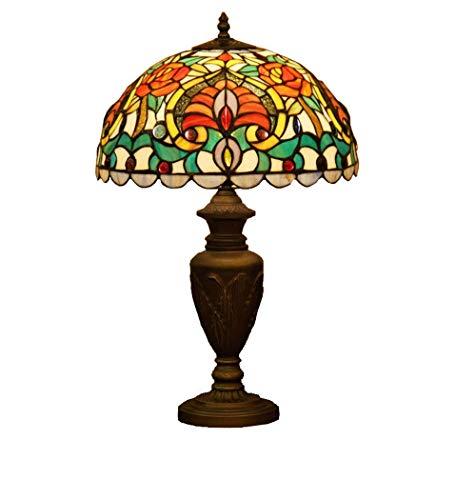 14-Zoll-Tiffany-Stil Schreibtischlampe/Leselampe, Euro Creative Glasmalerei Schreibtischlampe mit Zinklegierung Basis, Gemusterte Dekorative Tischleuchte für Bar, Esszimmer, BOSS LV - Euro Sockel-basis