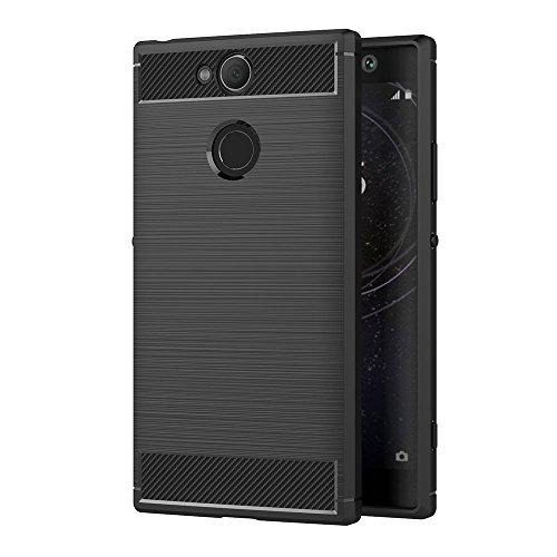 AICEK Sony Xperia XA2 Hülle, Schwarz Silikon Handyhülle für Sony XA2 Schutzhülle Karbon Optik Soft Case (5,2 Zoll)
