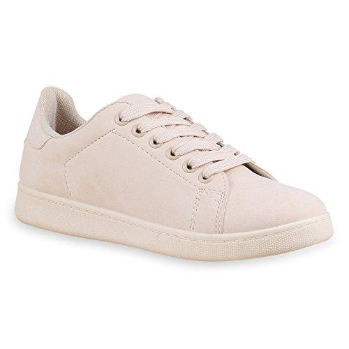 4524546c8ed192 Damen Sneakers Sportschuhe Schnürer Lack Lederoptik Schuhe Nude Total