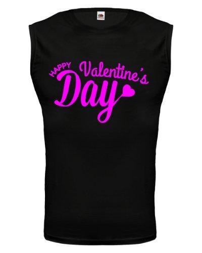 buXsbaum® Tank Top Happy Valentines Day Black-Neonpink