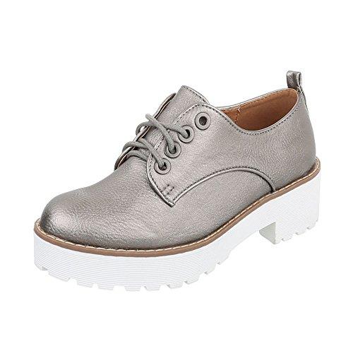 Chaussures femme Mocassins Bloc Chaussures à lanière Ital-Design gris argent