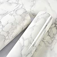 10m Marble Pattern Water-resistant Moistureproof Removable Self Adhesive Wallpaper Peel & Stick PVC Wall Stickers for Living Room Bathroom Kitchen Countertop 1# (5m & Style 1)