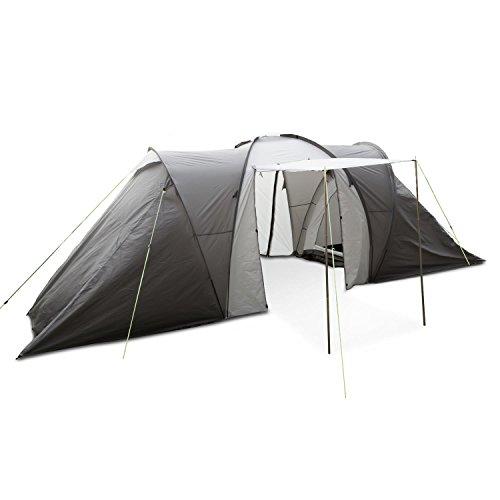 Yukatana Ollico • Zelt • Campingzelt • Tunnelzelt • 560 x 200 x 230 cm • bis zu 6 Personen • 2 separate Innenzelte • großer Vorraum • Polyester • hochgezogene Bodenwanne • wasserdicht • Moskitonetz • Sichtschutz • einfacher Aufbau • Heringe • grau