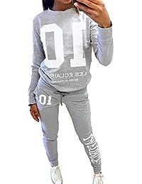 Minetom Femme Automne Tops à Manches Longues Pantalons Survêtements Ensembles Sportswear Sports Jogging Sweat-shirt