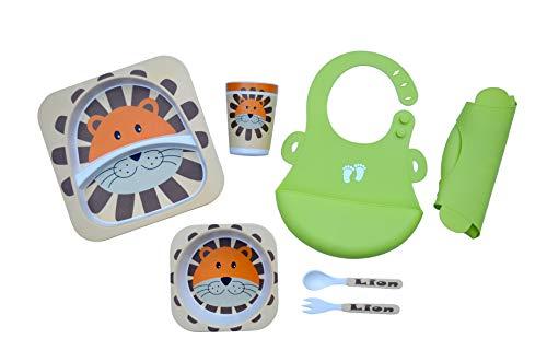 mit Silikon-Lätzchen (weich, flexibel, pflegeleicht) - 5-teiliges Geschirr-Set (Teller, Schüssel, Tasse, Gabel, Löffel), Umweltfreundliche Bambus-Faser, Spülmaschinenfest ()