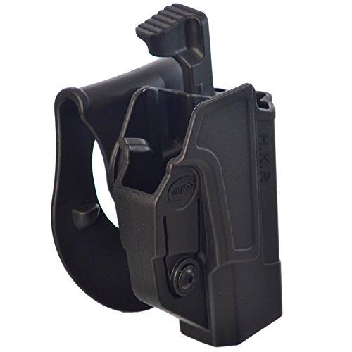 ORPAZ Defense Taktisch verstellbar drehbar drehung Paddle / Gürtel Pistole Holster Active Retention Mit Thumb Release Sicherheit für Heckler & Koch H&K USP 45, H&K USP 9mm and H&K USP 45 (Full Size Only) -