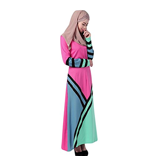 Meijunter New Musulman Femme Manche longue Loose Dress Arab Abaya Robe Cocktail Gown Rose