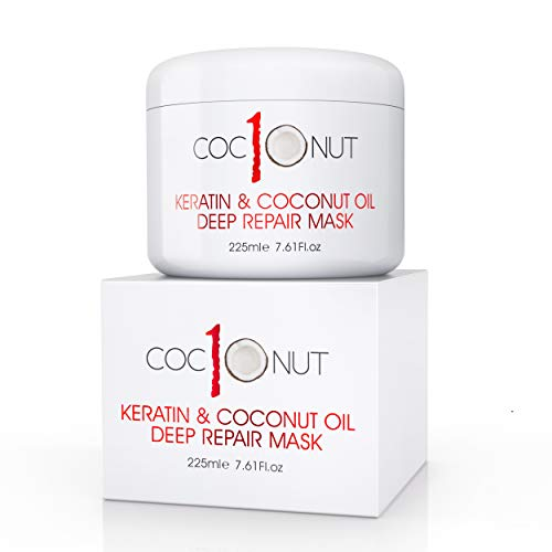 Haarmaske mit Kokosöl & Keratin-Protein - Feuchtigkeitsspendende Maske - Intensive Feuchtigkeitsreparatur für trockenes, strapaziertes Haar, Spliss, Locken & gefärbtes Haar - 225 ml -