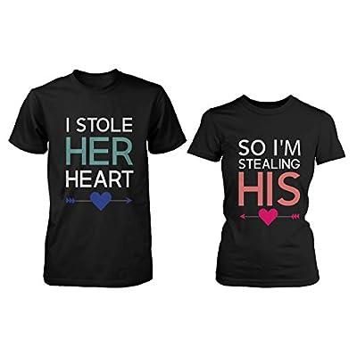 love Su y Su Juego Camisetas Para Parejas–I Robó Su Corazón, So I 'm el Robo de Su - Negro - Hombre-XX-Large/Mujer-Medium