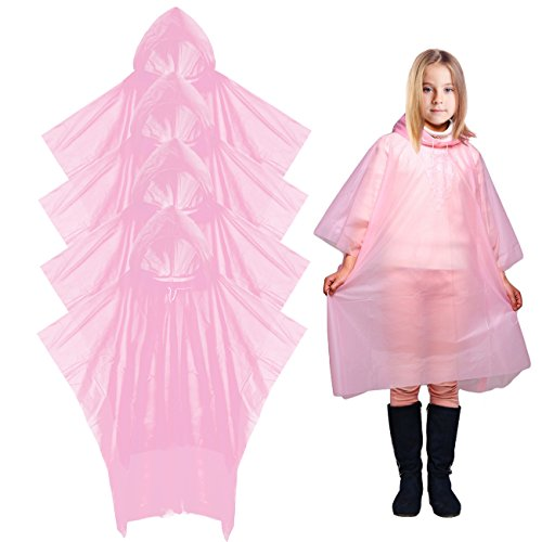Digitek Waterproof Ponchos - Disposable Poncho Waterproof Raincoat Kids Adults, Waterproof Ponchos Disposable Raincoat, Raincoat Clear Rain Poncho with Hood for Cycling Camping - 4 Pack