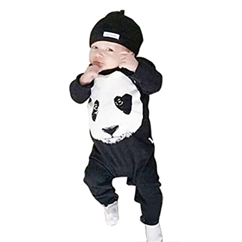 Koly Newborn Boy Carters Baby Panda Long Sleeve Climbing Infant Romper Clothes