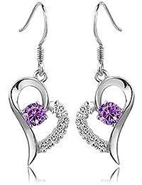 Lily joyas Diseño elegante S925 plata de ley Amethyst aros circonitas cúbicas para mujer con forma de corazón