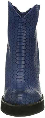 P1 Copenhagen, Damen Kurzschaft Stiefel Blau (blue snake)
