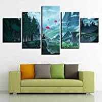 KQURNXSL Canvas Painting Wall Art HD Printed 5pcs Red Flying Umbrella Poster Modular Anime Girl Forest Landscape Home Decoration Frame