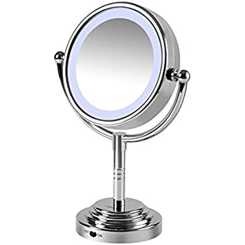 Modern Adjustable Silver Chrome Battery Operated