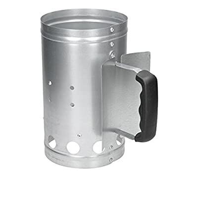 ECD Germany Grillanzündkamin aus verzinkter Stahl silber mit Sicherheitsgriff Anzündkamin Anzünder Grillanzünder Grillstarter Grill Kohleanzünder Holzkohle